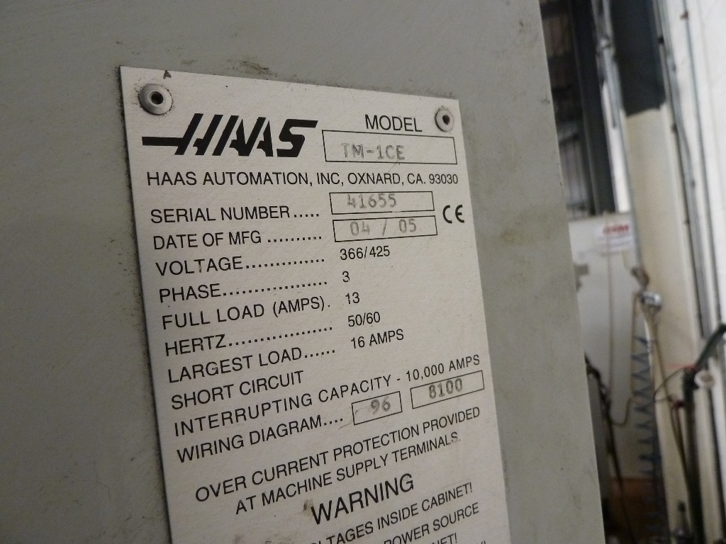 haas tm 1ce toolroom mill haas cnc control item description