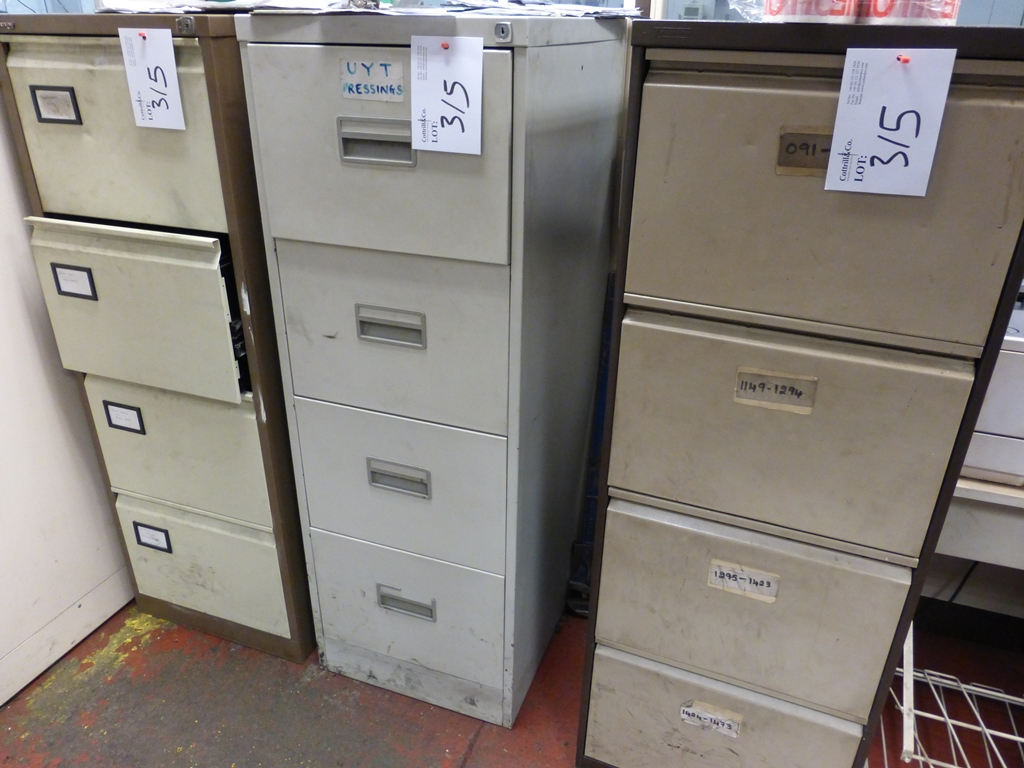4 Steel 4 Door Filing Cabinets 3 Door Filing Cabinet And A Tool Cabinet With Bench