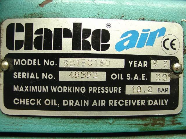 Clarke Air Industrial Se15c160 Garage Type Compressor